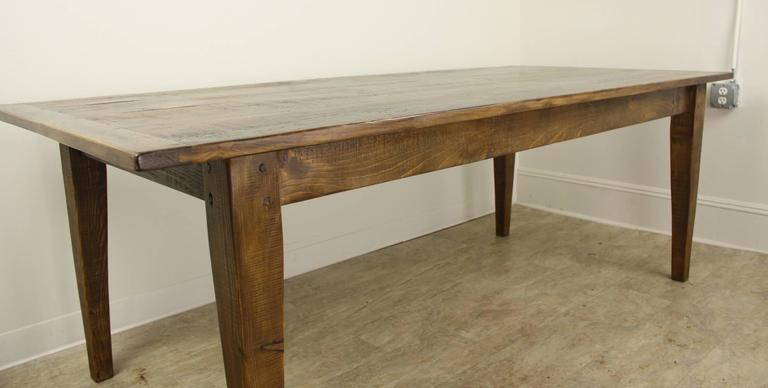 7 Foot Light Pine Farm Table With Breadboard Ends For 2
