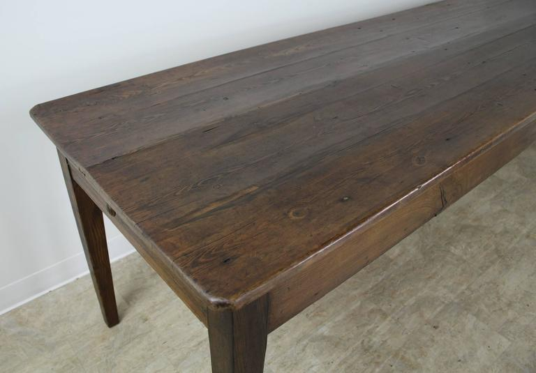 Long Antique Pine Farm Table One Drawer