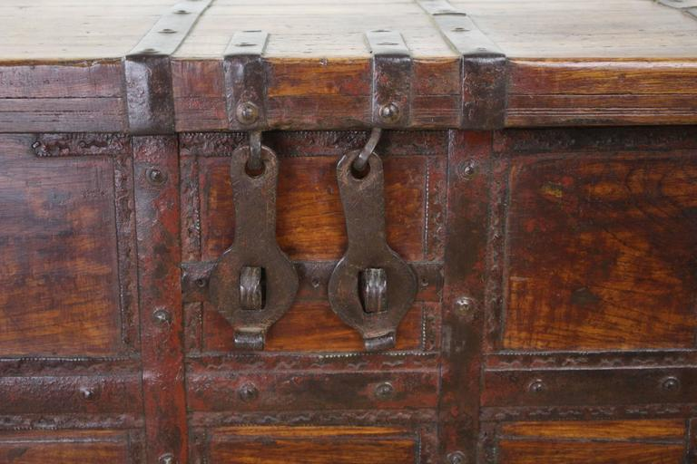 19th Century Antique French Elm Coffer/Trunk with Iron Strap Work For Sale