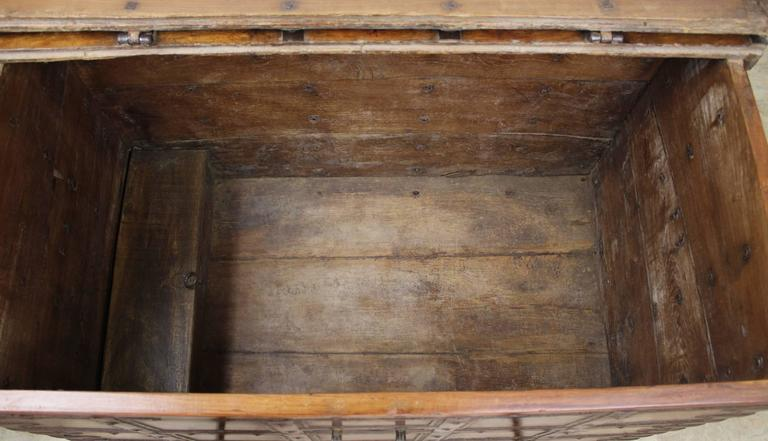 Antique French Elm Coffer/Trunk with Iron Strap Work For Sale 2