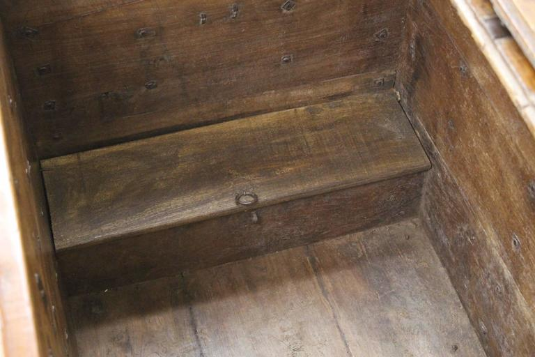 Antique French Elm Coffer/Trunk with Iron Strap Work For Sale 3
