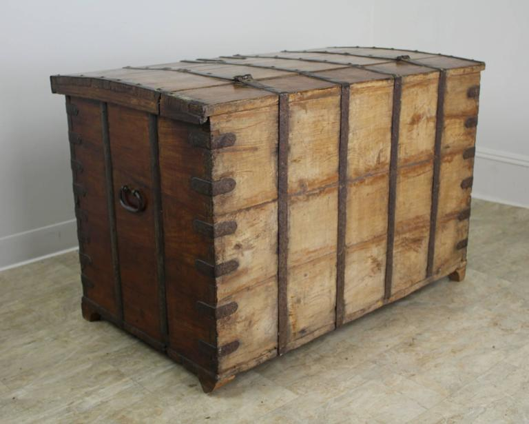 Antique French Elm Coffer/Trunk with Iron Strap Work For Sale 5