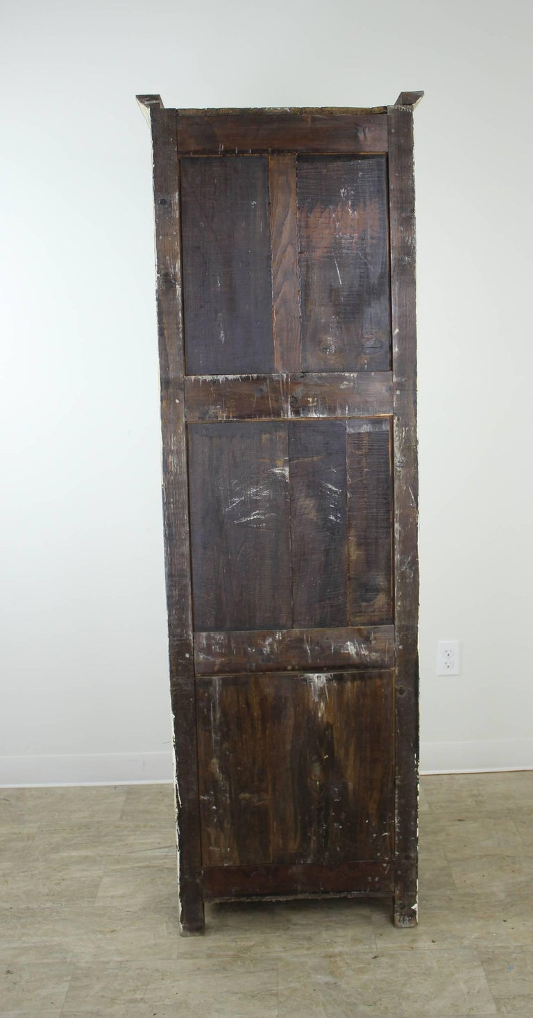 Narrow Antique Painted Chimney Cupboard In Oak For Sale At