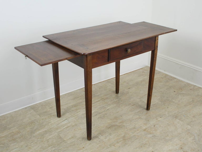 French Antique Walnut Side Table with Side Extensions For Sale