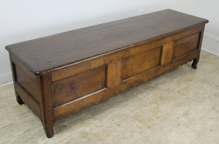 A pretty chestnut coffer or bench with a hinged top and plenty of storage within. Charming carved apron and good color and patina. This piece would be right in the end of a bed, in the entrance hall, or well-appointed mudroom.