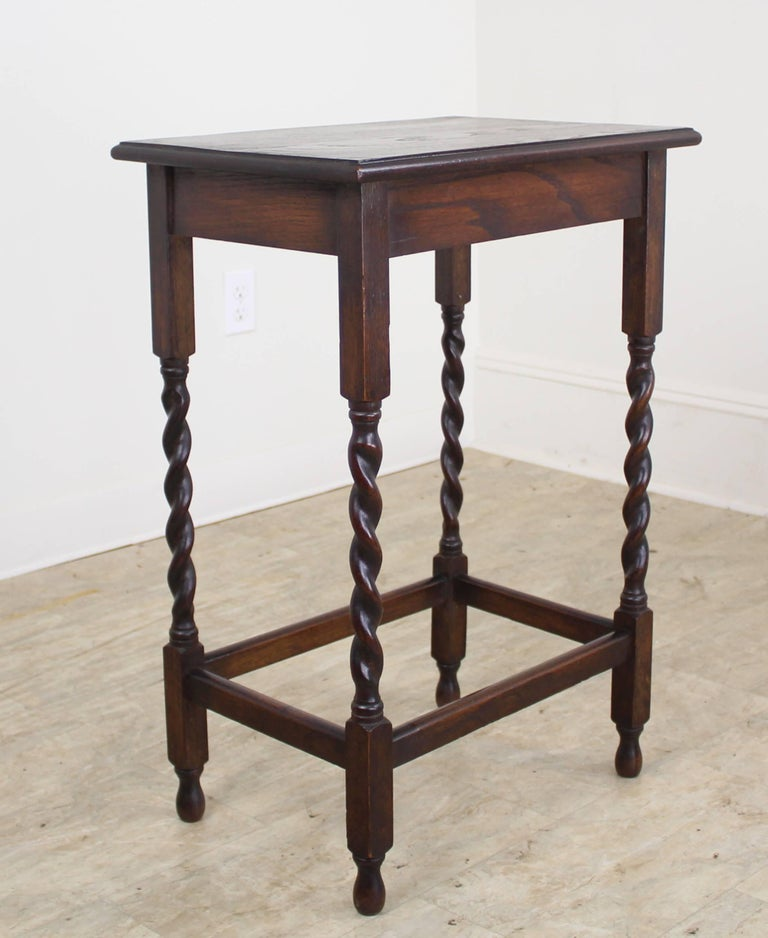 Antique Oak Barley Twist Side Table For Sale At 1stdibs
