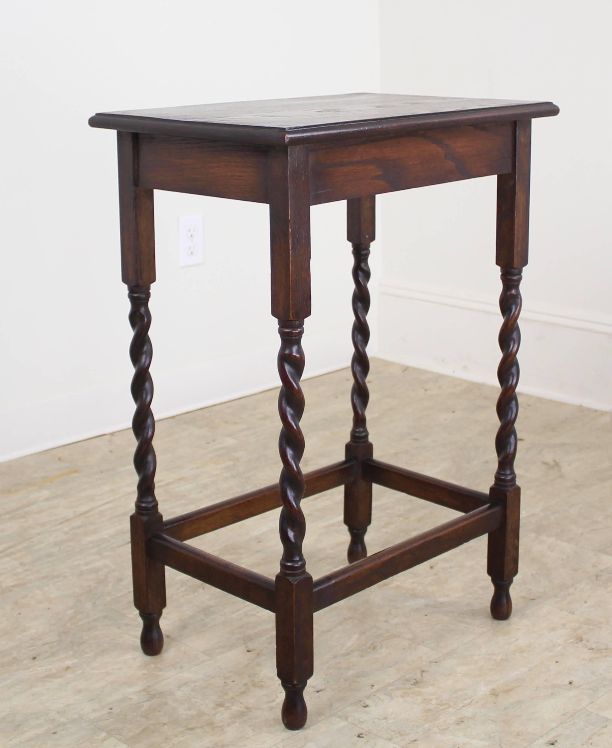 A Charming Simple Occasional Table In Dark Oak With Eye Catching Barley  Twist Detail. Would