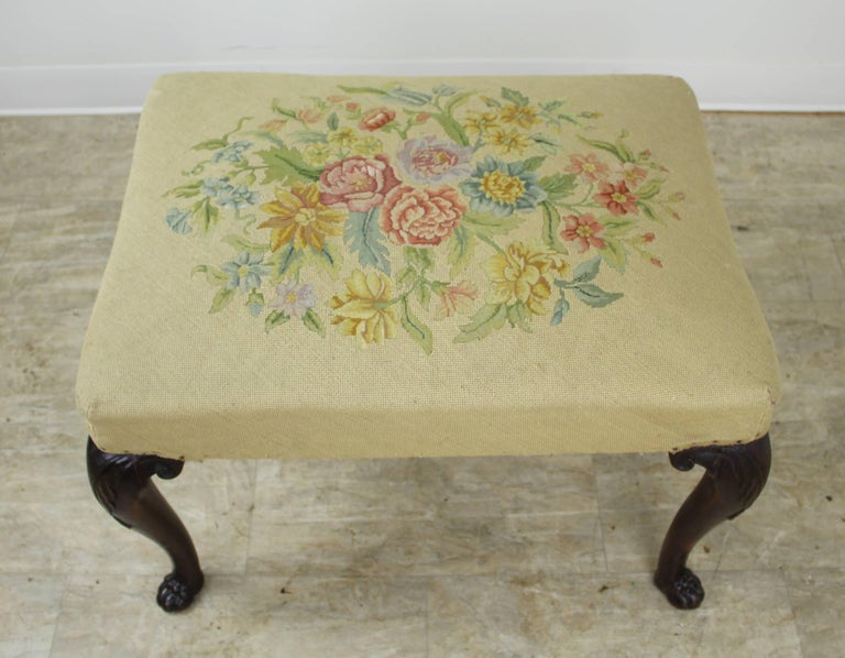 Embroidered 19th Century English Mahogany Needlepoint Stool with Claw Feet For Sale