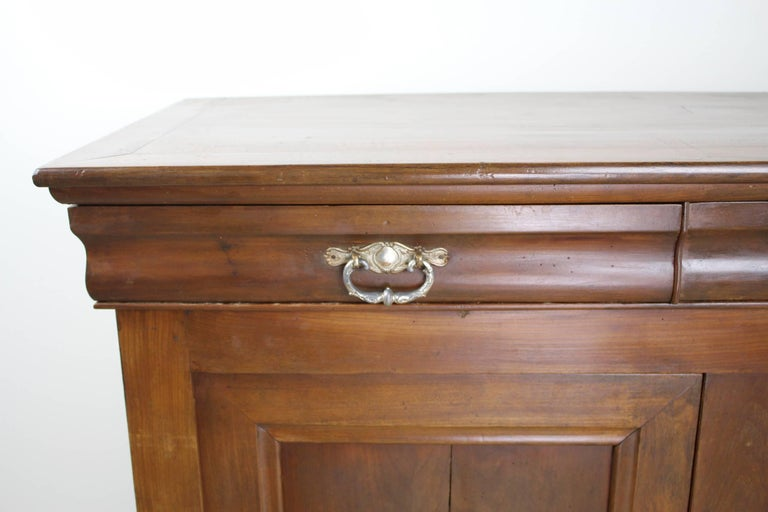 Louis Philippe Walnut Buffet with Silver Plate Handles For Sale 1
