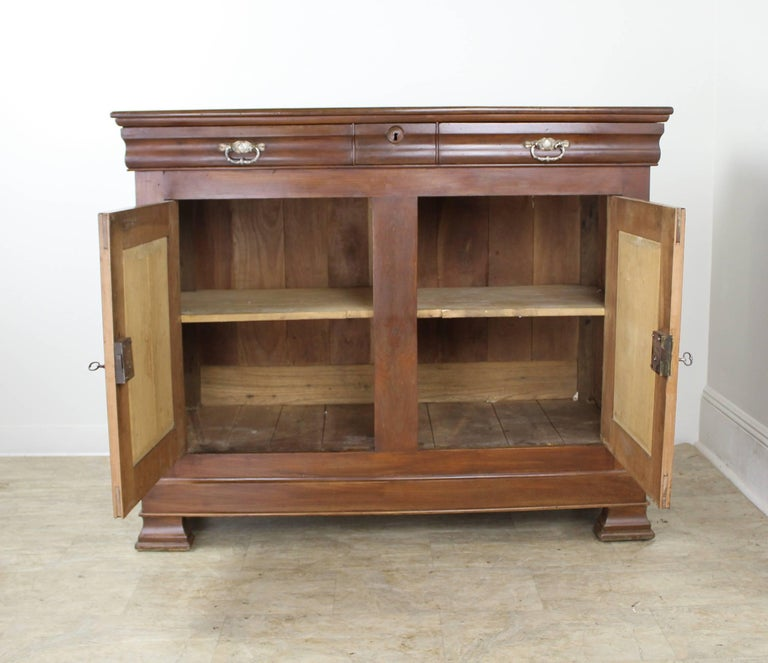 Louis Philippe Walnut Buffet with Silver Plate Handles For Sale 3
