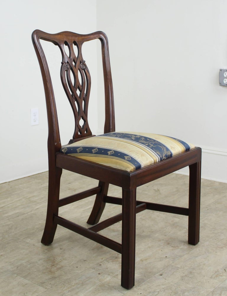 Set of Eight English Mahogany Chippendale Style Dining Chairs For Sale 4