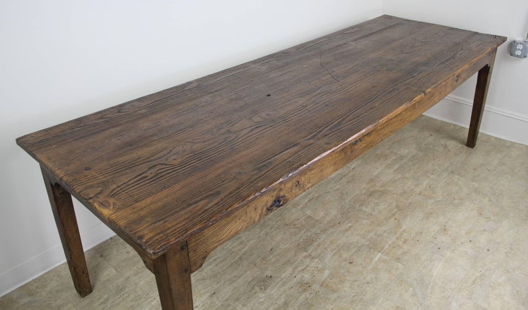 19th Century Long Antique French Pine Farm Table For Sale