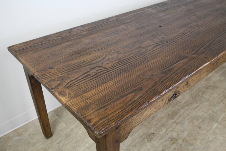 Long Antique French Pine Farm Table For Sale 1