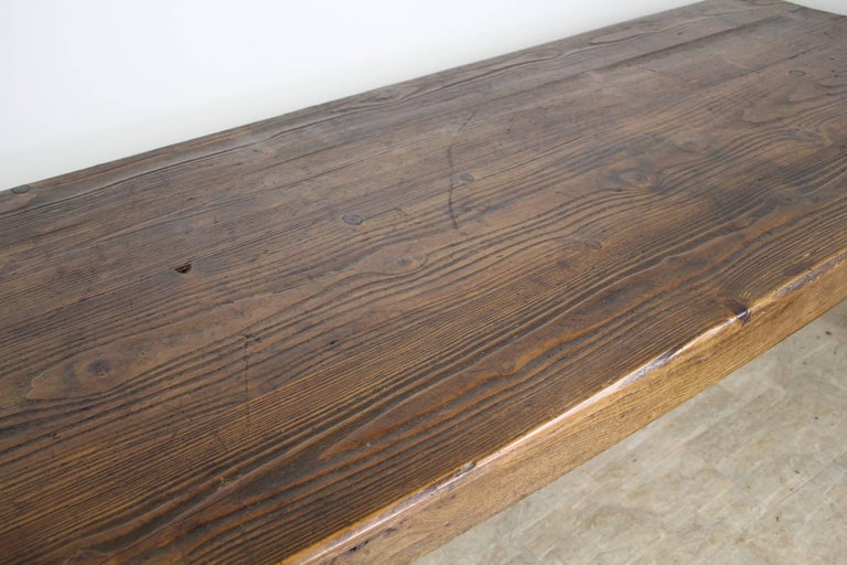Long Antique French Pine Farm Table For Sale 2