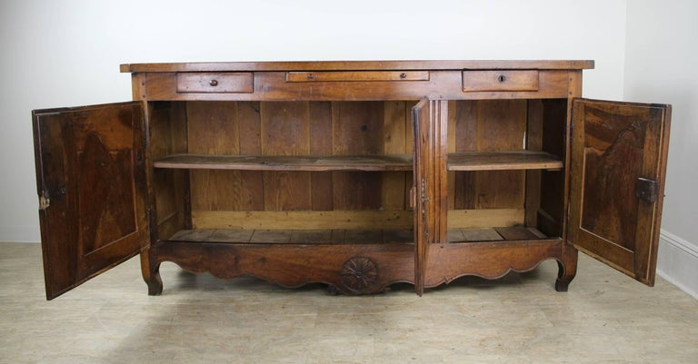 Thick Top Antique French Walnut Enfilade In Good Condition For Sale In Port Chester, NY
