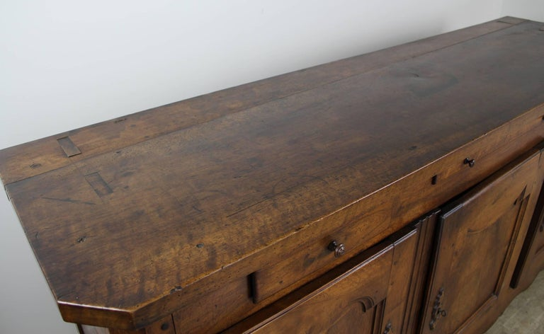 Thick Top Antique French Walnut Enfilade For Sale 4