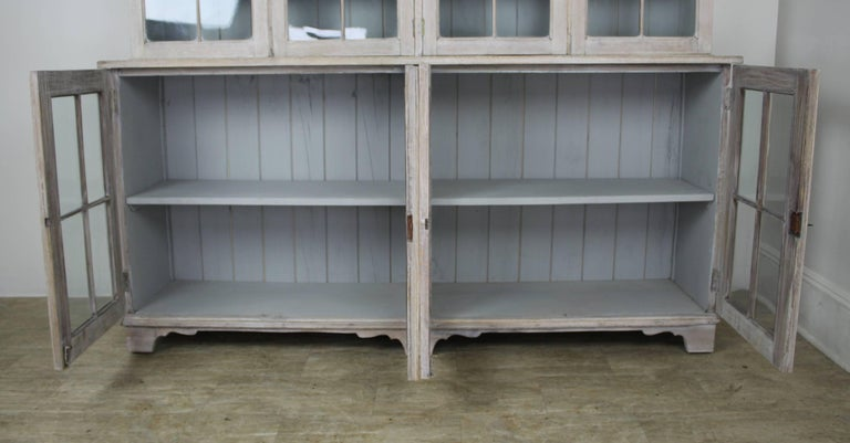 19th Century English Bleached Oak Library Bookcase For Sale