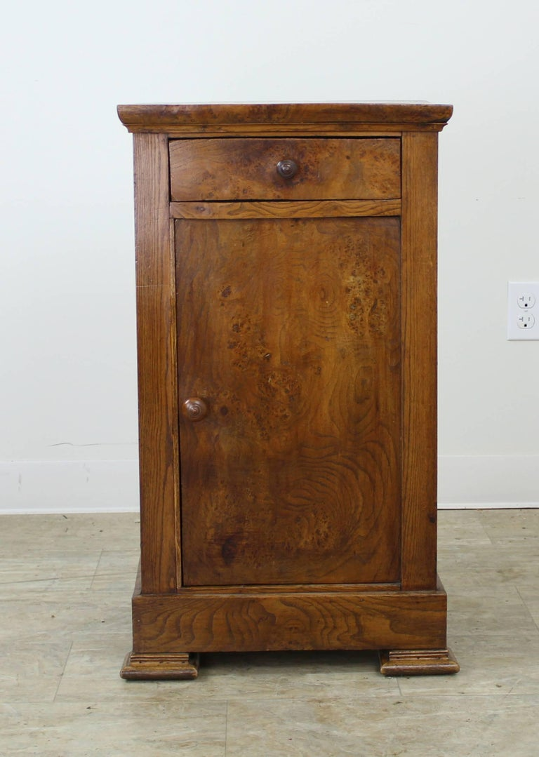 Antique French Burr Elm Side Cabinet In Good Condition For Sale In Port Chester, NY