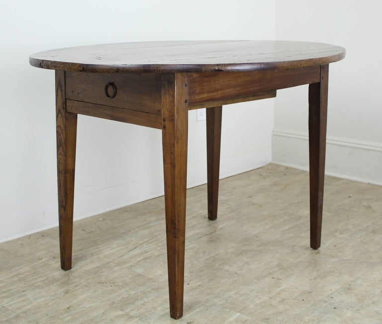 Antique Oval Walnut Occasional Table with One Drawer 4