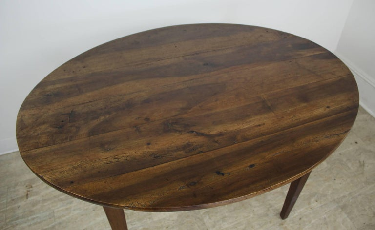 Antique Oval Walnut Occasional Table with One Drawer 2