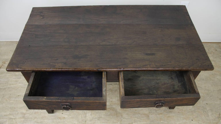 Antique Dark Chestnut Two-Drawer Coffee Table For Sale 1