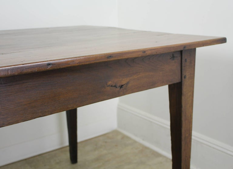 Antique Wide Cherry Farm Table With One Drawer For Sale At