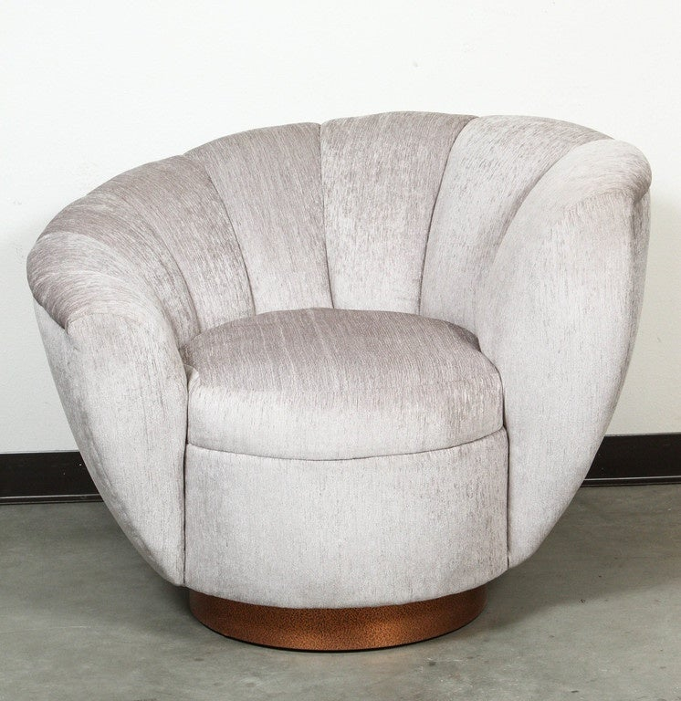 American Pair of Elegant Channel Back Club Chairs For Sale