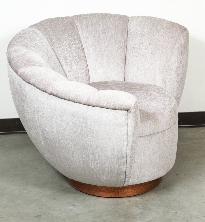 Fabric Pair of Elegant Channel Back Club Chairs For Sale