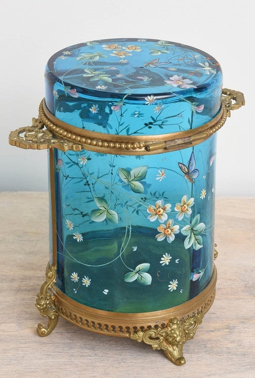 Antique Moser Cylinder Shaped Box For Sale At 1stdibs