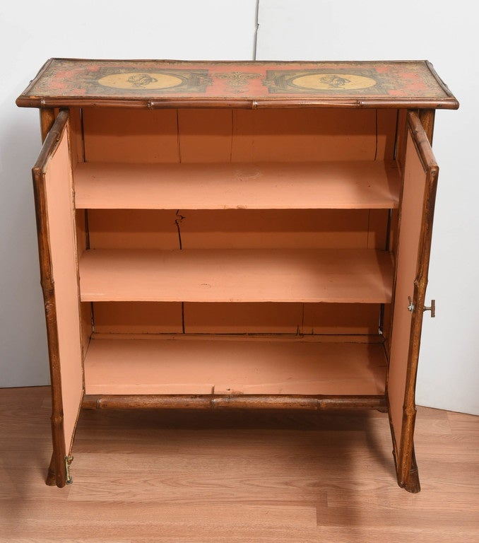 Antique bamboo cabinet with decoupage d cor for sale at for Bamboo kitchen cabinets for sale