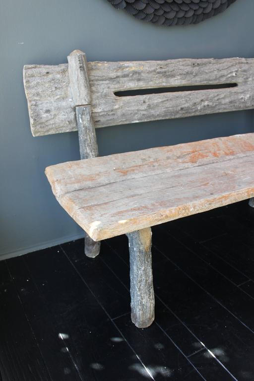 19th Century French Faux Bois Cement Garden Bench 2
