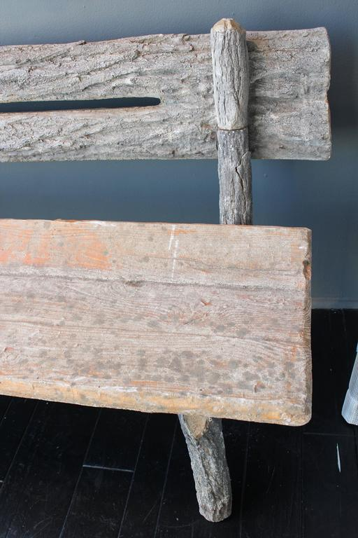 19th Century French Faux Bois Cement Garden Bench 4