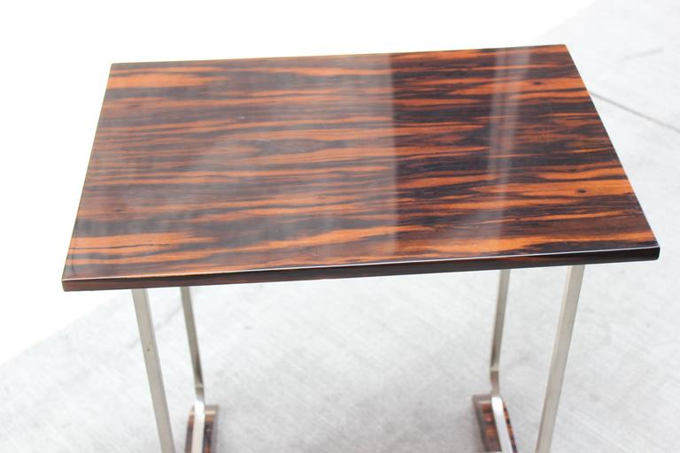 1930s Macassar and Chrome Side Table 3