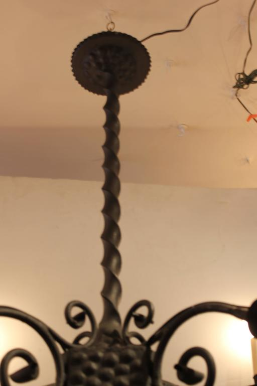 Early 20th century wrought iron chandelier from Spain. 