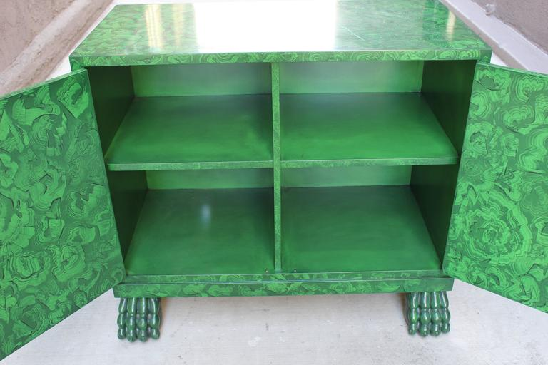 Faux Malachite Lacquer Cabinet In Excellent Condition For Sale In Los Angeles, CA