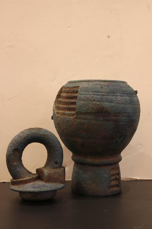 Large Stoneware Vessel with Lid 2