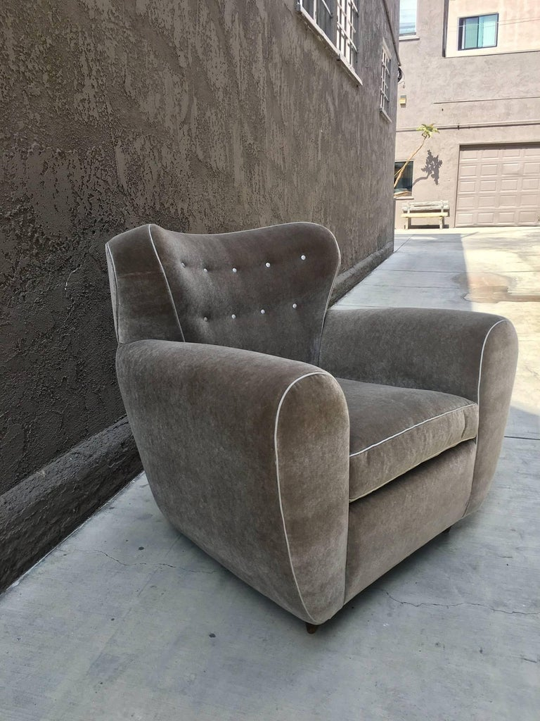 Mid-20th Century Pair of 1940's Oversize Italian Club Chairs For Sale