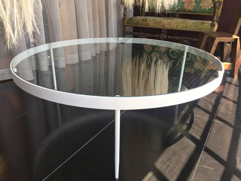 Powder-Coated Our Classics Collection Wire Glass Cocktail Table For Sale