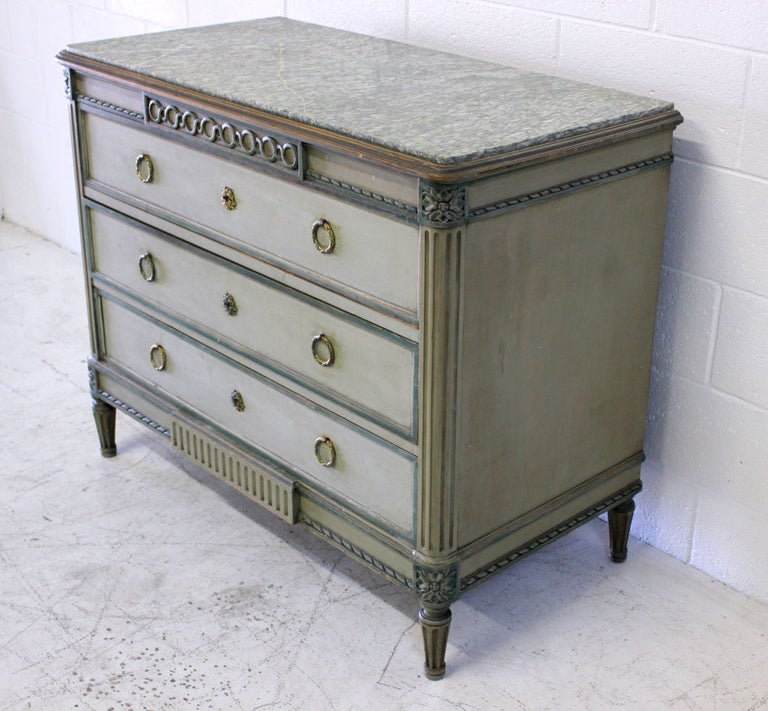 Louis XVI style painted cabinet with original marble. Hardware appears to be original.