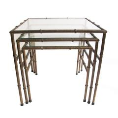 Set of Iron Faux Bamboo Nesting Tables
