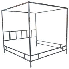 Pace Collection King-Size Four-Poster Chrome Bed
