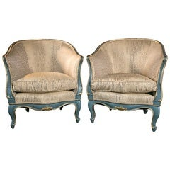 Pair of Italian Gilt and Blue Wood Frame Chairs