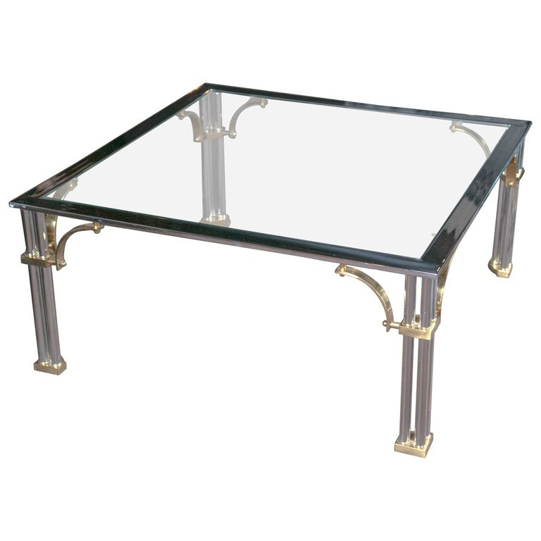 40 Metal Square Coffee Tables: Chrome And Brass Square Fretwork Coffee Table For Sale At