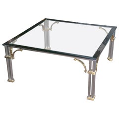 Chrome and Brass Square Fretwork Coffee Table
