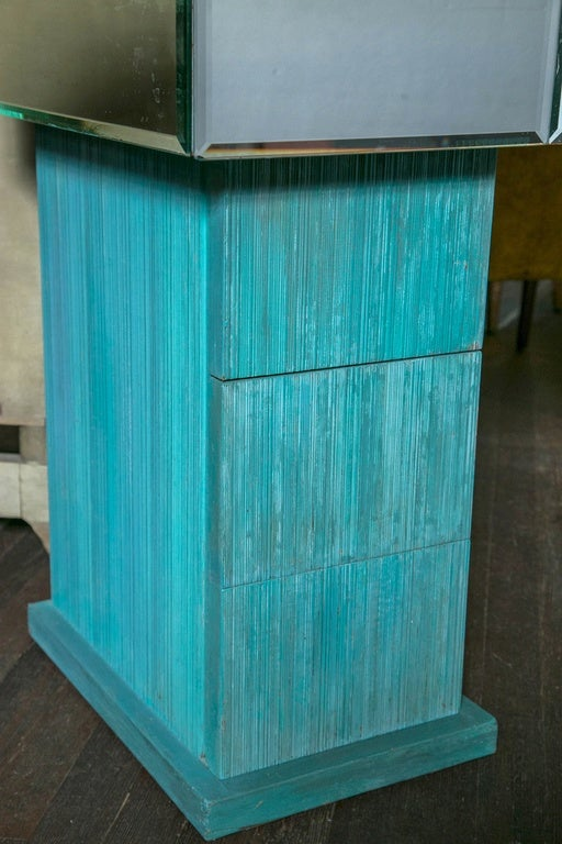 Mid-20th Century Turquoise and Mirrored Dressing Table For Sale