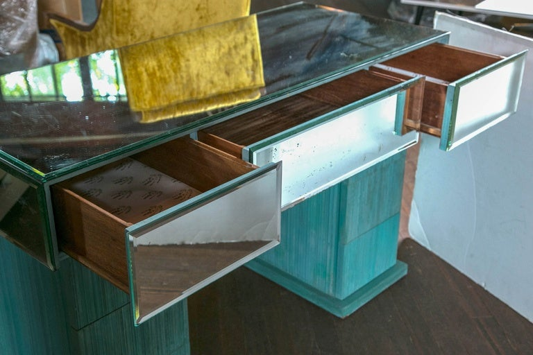 Turquoise and Mirrored Dressing Table For Sale 2