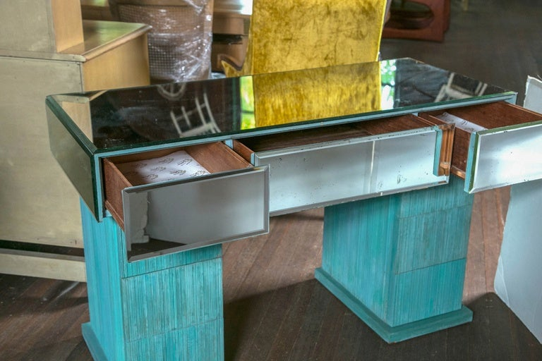 Turquoise and Mirrored Dressing Table For Sale 3