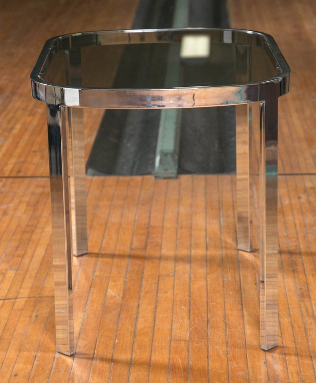 Late 20th Century Directional Chrome Side Tables For Sale