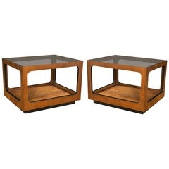 Pair of Mid-Century Rectangular Wood End Tables