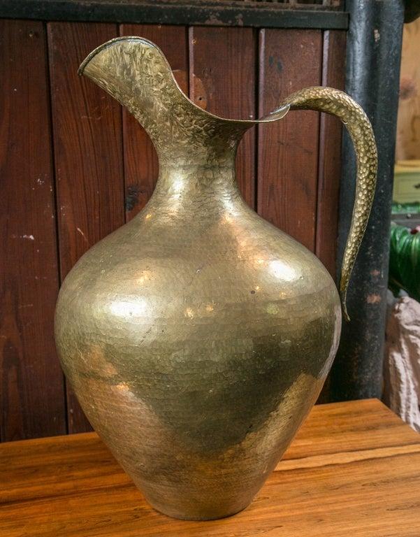 Huge decorative brass pitcher or vase.